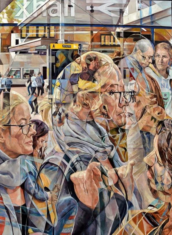 Маслени слики со повеќе слоеви го визуелизираат движењето во зафатените градови