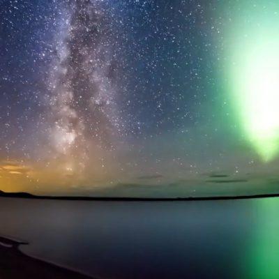 Магично тајмлапс видео од поларната светлина и Млечниот пат