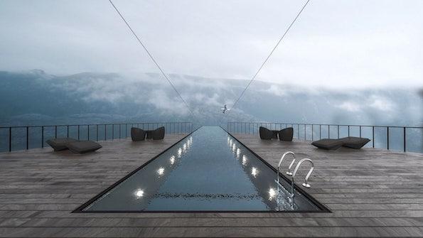 Возбудлив хотелски дизајн со стаклен базен што лебди 600 метри над норвешките фјордови