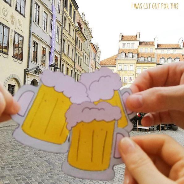 Илустрирани хартиени исечоци мудро вметнати во патувачки фотографии