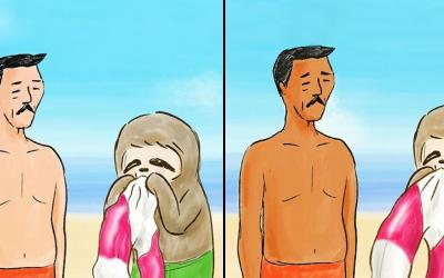 Пресмешни илустрации од јапонски артист: Секојдневните проблеми во животот на еден мрзливец