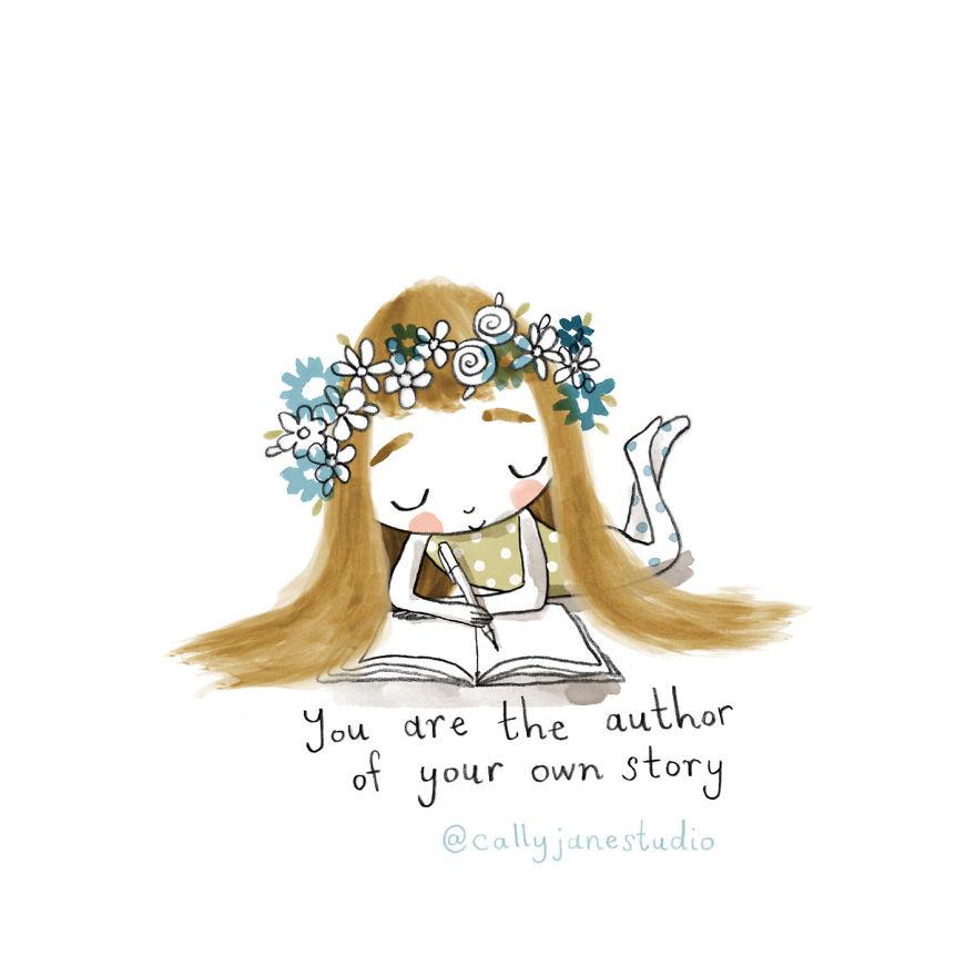 Илустрации со девојче што вежба јога кои испраќаат позитивни пораки за љубовта кон себе