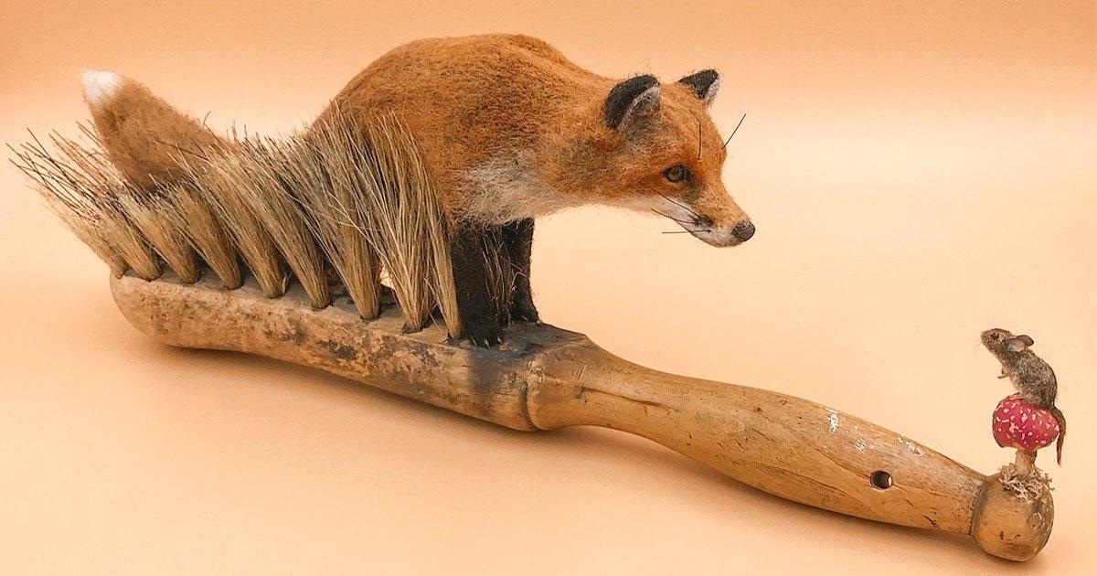 Еден британски уметник употребувајќи стари четки создава бајковити приказни од животинскиот свет