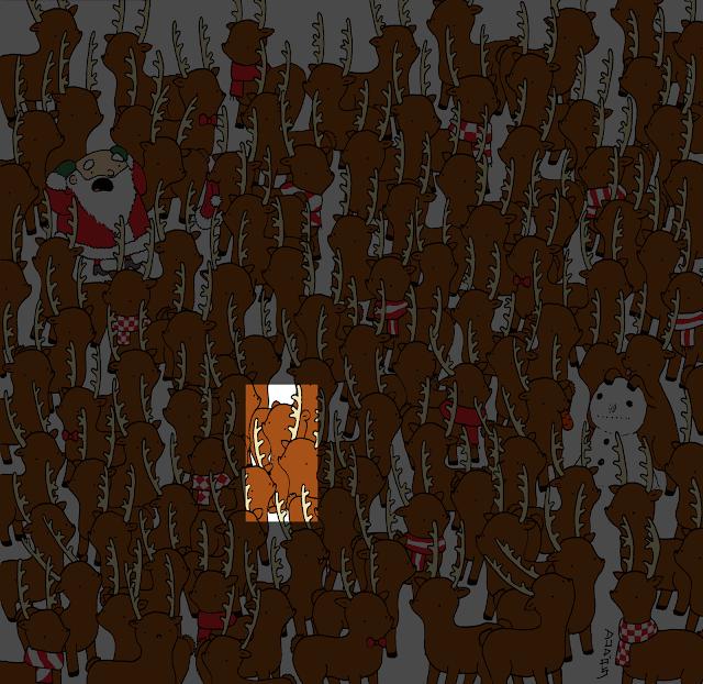 Дедо Мраз е во неволја: Дали можете да ја пронајдете мечката што е скриена меѓу ирвасите?