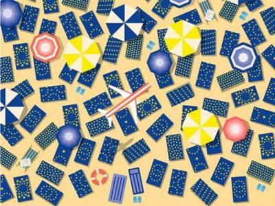 За оние со око соколово: Дали можете да го пронајдете знамето на Европската Унија меѓу крпите на плажата?