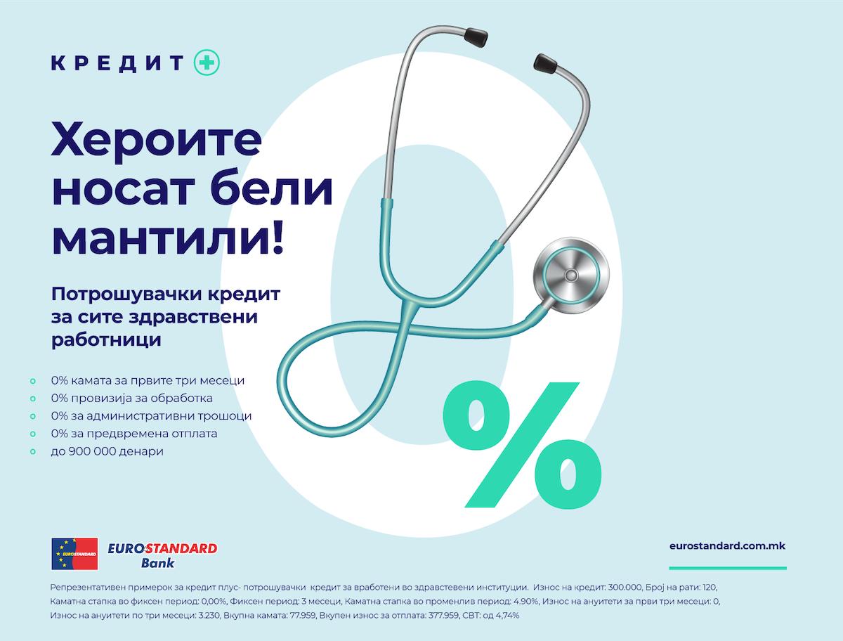 Еуростандард Банка воведува нов поволен потрошувачки кредит наменет за здравствените работници