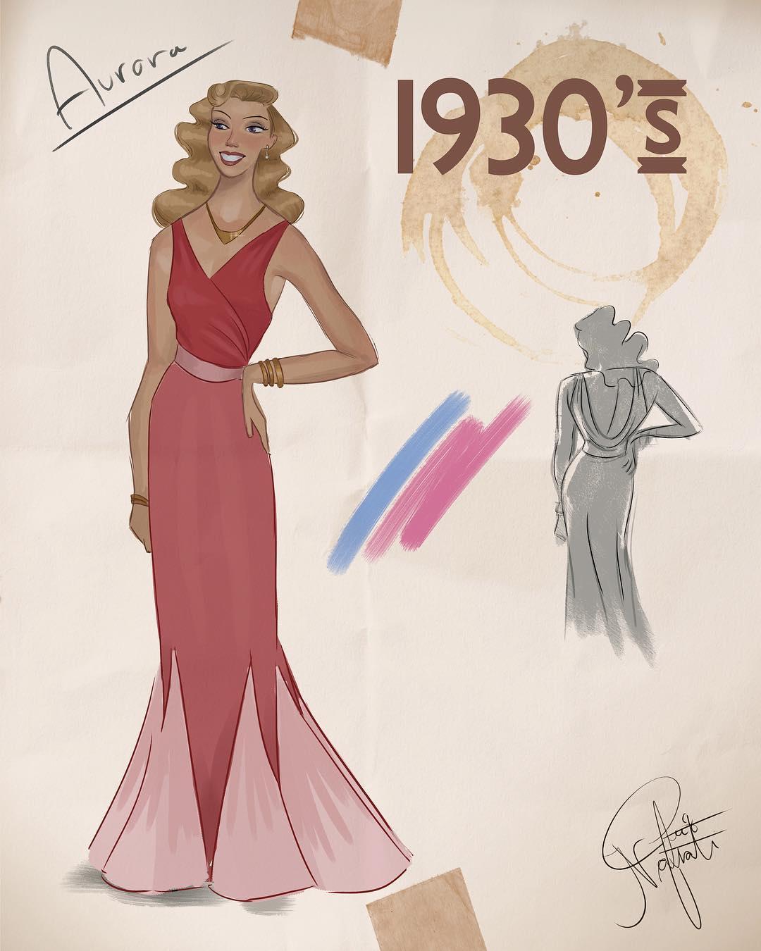Артист создава илустрации од Дизни принцезите во облека која ја отсликува модата низ децениите