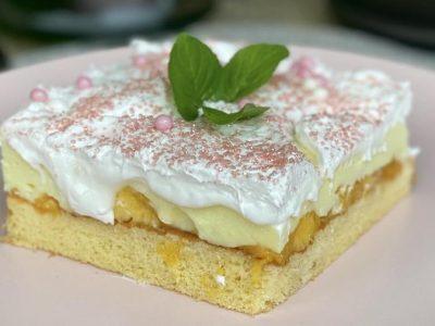 Сочен десерт: Крем торта со праски