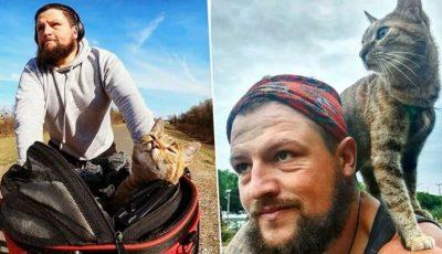 Велосипедист пронашол бездомна мачка која решил да ја носи на патување низ светот