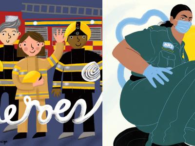 Илустрации во чест на здравствените работници и секојдневните херои за време на Ковид-19
