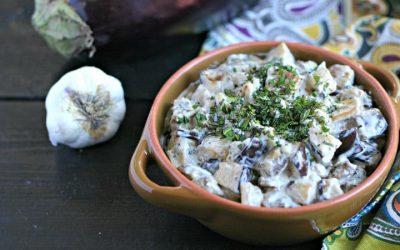 Либанска салата со модар патлиџан и јогурт