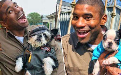 Еден возач на превоз за животни се фотографира со секое куче што ќе го сретне додека е на пат