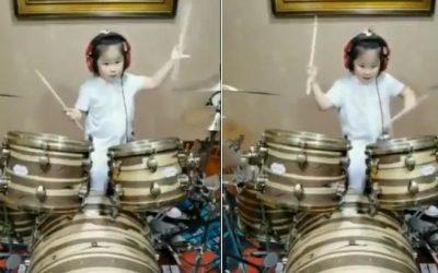 Вирално видео: 5-годишно девојче покажа како се свири на тапани!