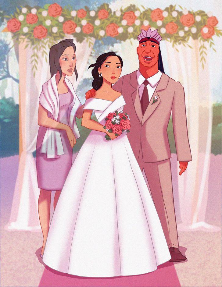 Еден уметник замислува како би изгледале родителите на принцезите на Дизни ако биле присутни на венчавката