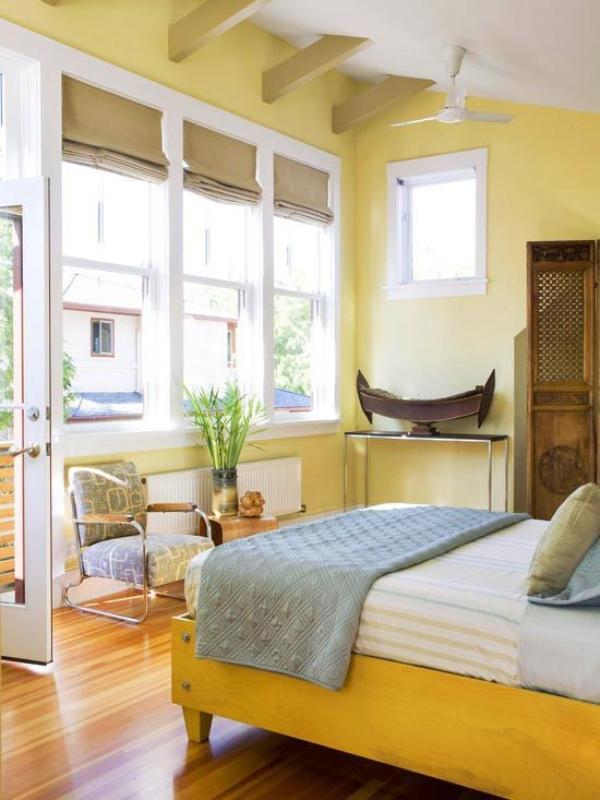 Како да ја декорирате спалната соба во жолти нијанси?