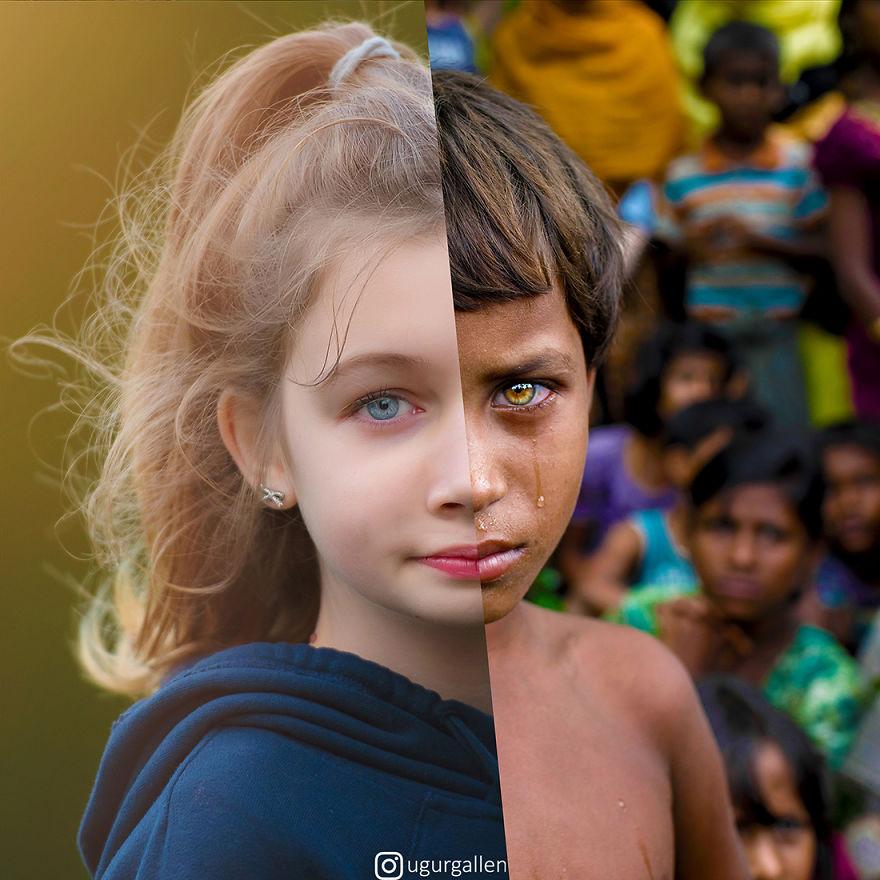 Уметник го прикажува контрастот помеѓу двата света во кои моментално живееме