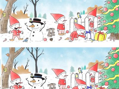 Можете ли да ги пронајдете сите 7 разлики во оваа зимска загатка?