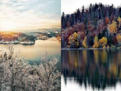 Езеро во Хрватска кое изгледа волшебно во боите на есента, но исто така и под белата снежна покривка