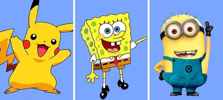 Зошто толку многу цртани ликови се во жолта боја?