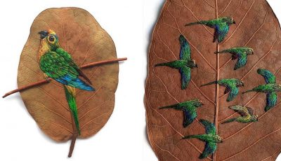 Уметница користи суво лисје како неконвенционално платно за везење птици